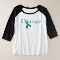 Courage teal ribbon plus size raglan T-Shirt