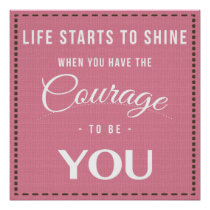 Courage to Be You Pink Pattern Blessing Poster