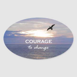 Courage To Change Oval Sticker