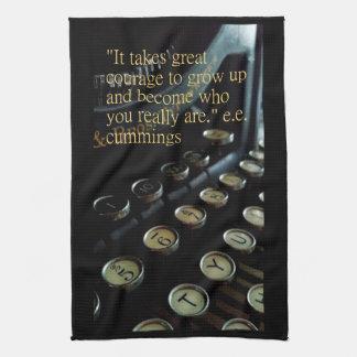 """""""Courage"""" Vintage Typewriter Kitchen Towel 16""""x24"""""""
