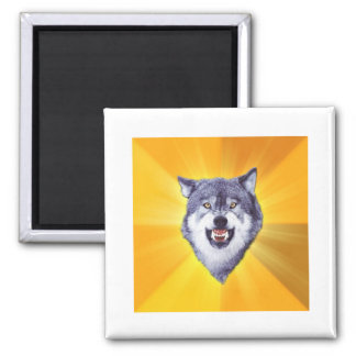 Courage Wolf 2 Inch Square Magnet