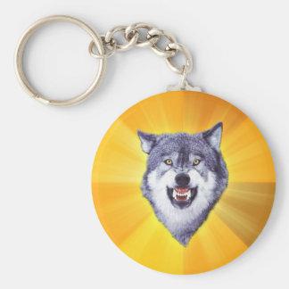 Courage Wolf Advice Animal Internet Meme Basic Round Button Keychain