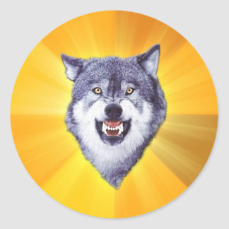 Courage Wolf Advice Animal Internet Meme Classic Round Sticker