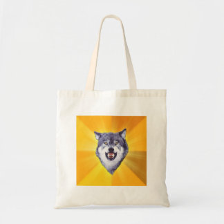 Courage Wolf Advice Animal Meme Tote Bags