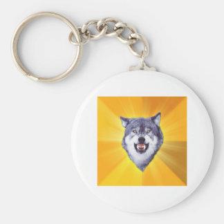 Courage Wolf Basic Round Button Keychain