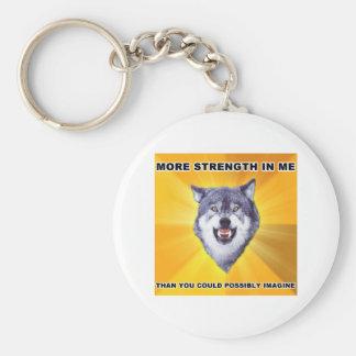 Courage Wolf Strength Basic Round Button Keychain