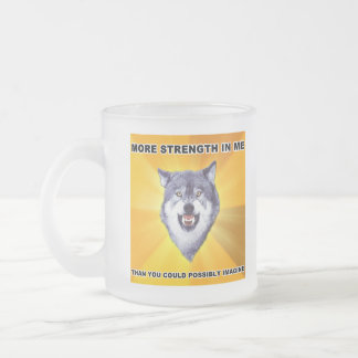 Courage Wolf Strength Frosted Glass Coffee Mug