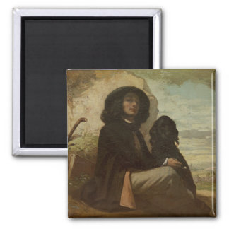 Courbet with his Black Dog, 1842 2 Inch Square Magnet