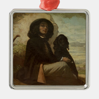Courbet with his Black Dog, 1842 Metal Ornament