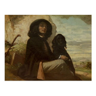 Courbet with his Black Dog, 1842 Postcard