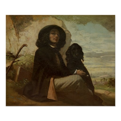 Courbet with his Black Dog, 1842 Poster