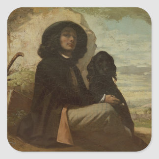 Courbet with his Black Dog, 1842 Square Sticker