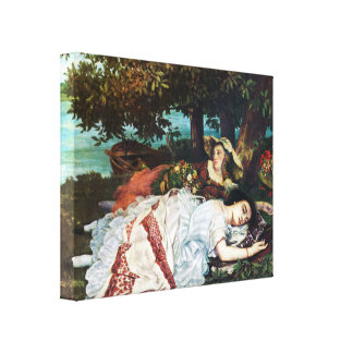 Courbet Young Ladies on the Banks of the Seine Canvas Print