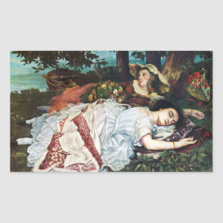 Courbet Young Ladies on the Banks of the Seine Rectangular Sticker