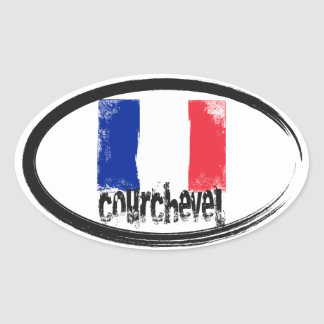 Courchevel Grunge Flag Oval Sticker