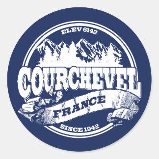 Courchevel Old Circle White Classic Round Sticker