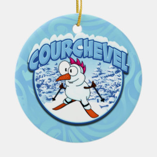 Courchevel Snowman Double-Sided Ceramic Round Christmas Ornament