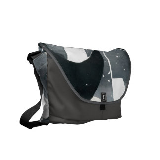 Courier Bag, Abstract Black, Grey, White 'Blades' Messenger Bag