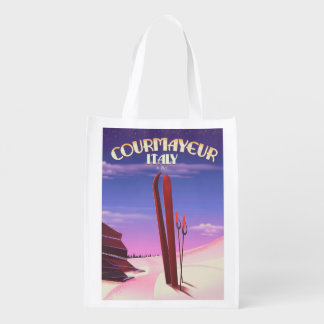 Courmayeur Italian ski poster Reusable Grocery Bag
