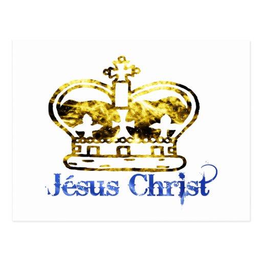 Couronne Jesus Christ Doré Bleu Post Card
