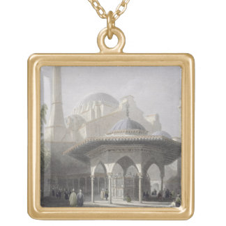 Court and Fountain of St. Sophia, Istanbul, engrav Gold Plated Necklace