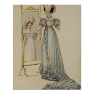 Court dress, fashion plate from Ackermann's Reposi Poster
