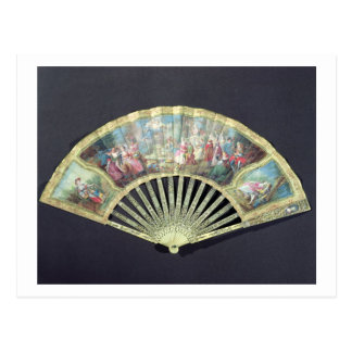 Court Fan, French, 18th century  (ivory and w/c on Post Cards