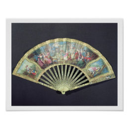 Court Fan, French, 18th century  (ivory and w/c on Poster