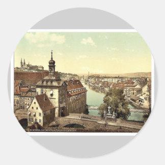 Court house, Bamberg, Bavaria, Germany vintage Pho Round Stickers