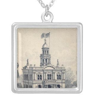 Court House, Fresno Square Pendant Necklace