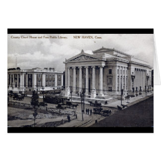 Court House, Library, New Haven CT 1912 Vintage Card