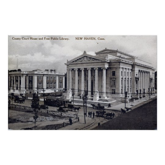 Court House, Library, New Haven CT 1912 Vintage Poster