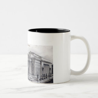 Court House, Library, New Haven CT 1912 Vintage Two-Tone Coffee Mug