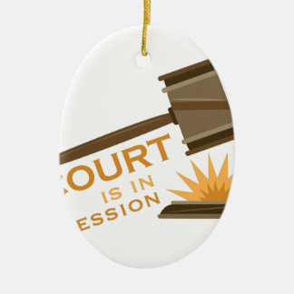 Court In Session Double-Sided Oval Ceramic Christmas Ornament