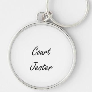 Court Jester Artistic Job Design Silver-Colored Round Keychain