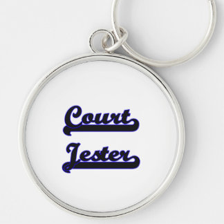 Court Jester Classic Job Design Silver-Colored Round Keychain