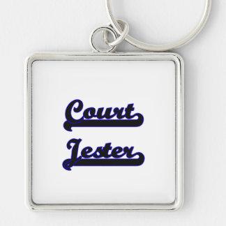 Court Jester Classic Job Design Silver-Colored Square Keychain