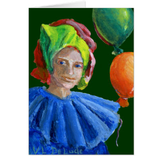 Court Jester Clown with Balloons Card