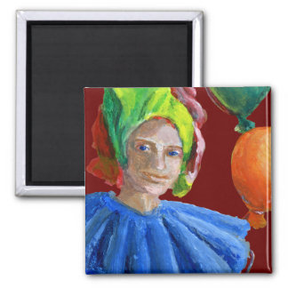 Court Jester Clown with Balloons Magnet