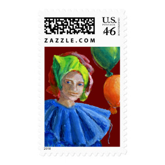 Court Jester Clown with Balloons Postage Stamps
