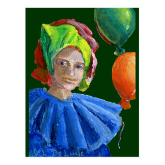 Court Jester Clown with Balloons Post Card
