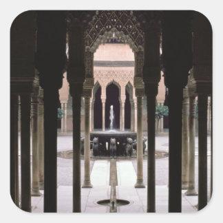 Court of Lions begun during reign of Mohammed V Square Sticker