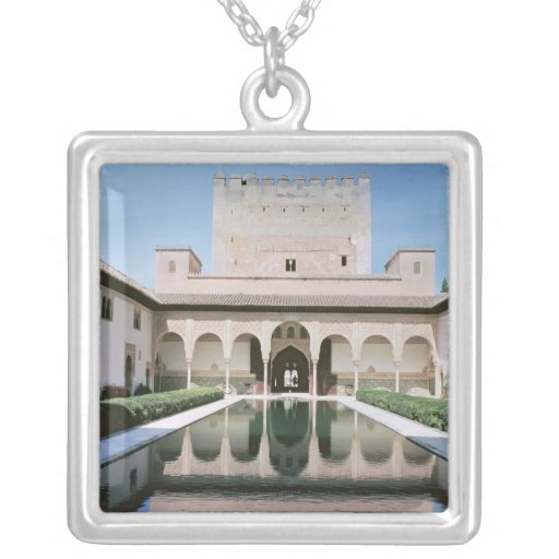 Court of the Myrtles, begun in 1333 Square Pendant Necklace