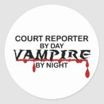 Court Reporter by Day, Vampire by Night Round Stickers