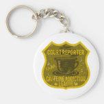 Court Reporter Caffeine Addiction League Basic Round Button Keychain