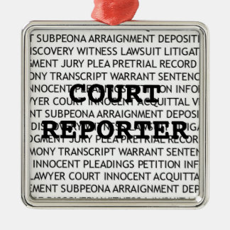 Court Reporter Christmas Metal Ornament