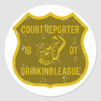 Court Reporter Drinking League Round Stickers