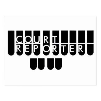 Court reporter keys black white postcard