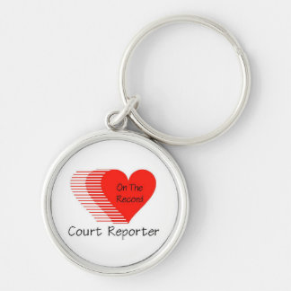 Court Reporter Record Silver-Colored Round Keychain