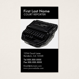 Court reporter steno machine vertical custom cards